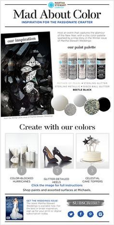 Martha Stewart Crafts® Mad About Color: January 2015 - #madaboutcolor Color palette inspiration from #marthastewartcrafts - pretty metallic silver, gray and black paint palette to #DIY - complete with tutorial! #plaidcrafts