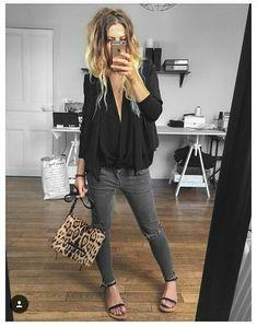 Damen Edel Hose Neu M L Business schleife Musthave Chic Büro Grau Blogger Boho