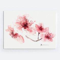 Mothers Day Gift Cherry Blossom Pink Home Decor by ColorWatercolor