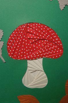 Iris folding : Carte Champignon rouge des contes pour enfants ...