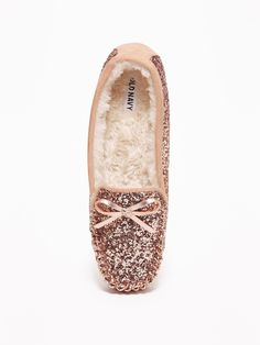 e35011bb07a Glitter Sherpa-Lined Moccasin Slippers for Women