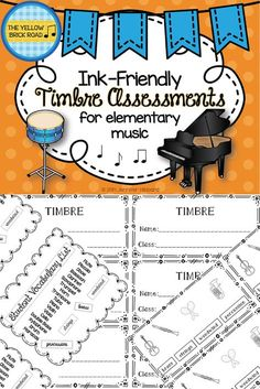 Ink-friendly timbre assessments for elementary music.