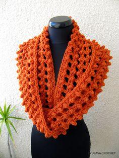 Trendy Infinity Orange Scarf Crochet Tutorial Pattern PDF, Unique Crochet Cowl Scarf Fashion Autumn 2012, Lyubava Crochet Pattern number 62. $3.99, via Etsy.