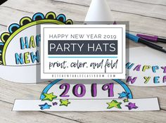New Year's Eve Party Hats-Easy New Year's crafts for kids - The Kitchen Table Classroom Homemade Clay, Diy Clay, Clay Crafts, New Year's Crafts, Crafts For Kids To Make, Art For Kids, Kids Watercolor, Autumn Art, Elements Of Art