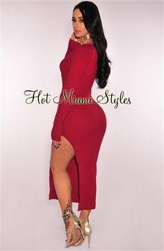 5f6b8688ea3 Cranberry Ribbed Knit Side Slit Dress