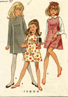 Vintage 60s Butterick 5399 Girls A-Line Dress or Jumper with Front Inset Yoke Sewing Pattern Size 8