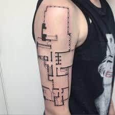 Gallery of 118 Impressive Architecture Tattoo Designs - 53 Frank Lloyd Wright, Tattoo Motive Frau, Architecture Memes, Tattoo Pain Chart, Tattoo Designs, Tattoo Ideas, Ink Master, Symbolic Tattoos, Get A Tattoo