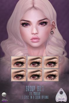 Eye Makeup July 2018 Group Gift by UniCult - 1 styles 6 color options - Second Life Freebies Sims Four, Sims 4 Mods Clothes, Sims 4 Clothing, Sims 4 Cas, Sims Cc, Eyeliner, Eyebrows, The Sims 4 Skin, Sims 4 Anime