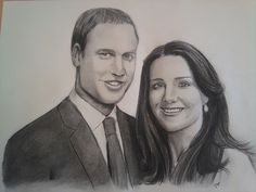 Charcoal Portraits Prince William and Catherine Middleton by Coop and Terry
