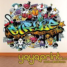 Graffiti de nombre en vinilo adhesivo pared juvenil Retro