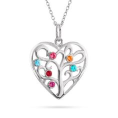 Heart Shaped Family Tree Necklace with up to 6 Birthstones