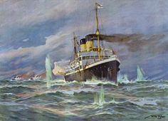 Willy Stöwer - Unternehmung des Hilfsstreuminendampfers Königin Louise gegen die Themse am 5. August 1914