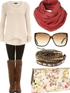 I like the cozy sweater and scarf paired with the tall boots.