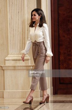 Queen Letizia of Spain attends an audience at Zarzuela Palace on January 23, 2018 in Madrid, Spain.