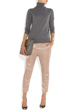 Haider Ackermann|Satin tapered pants| Dolce & Gabbana Grey Cashmere Turtleneck sweater NET-A-PORTER.COM