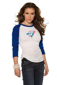 Toronto Blue Jays Cooperstown Women's 3/4 Sleeve Raglan Top - Touch by Alyssa Milano