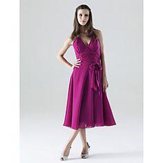 A-line Halter Tea-length Chiffon Matte Satin Bridesmaid/ Wedding Party Dress