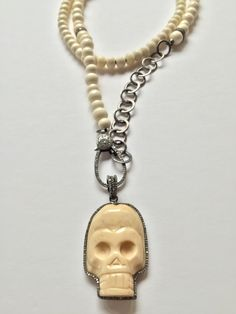 Long Bone Chain,Bone Skull Pave Diamonds Detail.