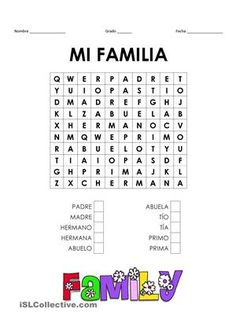 Learning Apps For Kids Learning Activities High Schools Spanish Worksheets Family, Family Worksheet, Spanish Phrases, Spanish Grammar, Spanish Activities, Spanish Games, Spanish Practice, Spanish Lessons For Kids, Learning Spanish For Kids