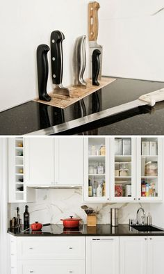 Kitchen Design Idea - Include A Built-In Knife Block | This wood knife block sits in the corner of this small kitchen countertop and contrasts the dark countertop material.