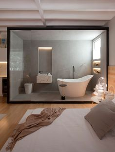 A unique bathroom designed in it's own cube in the Jabuticaba Studio by Nildo José! Click the image to try our free home design app. Keywords: bathroom interior design, simple interior design, home… Hotel Bedroom Design, Bathroom Interior Design, Decor Interior Design, Design Interiors, Luxury Interior, Interior Paint, Interior Design Examples, Interior Design Inspiration, Simple Interior