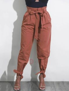 #mothersday #AdoreWe #TideBuy - #TideBuy Loose Plain Bowknot Womens Casual Pants - AdoreWe.com