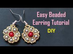 Most attractive Golden Beaded Earring -- Easy DIY - YouTube