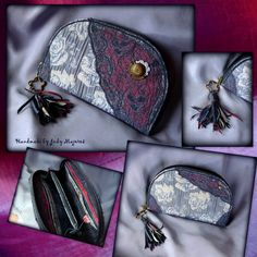 Handmade by Judy Majoros - Fringe wallet-clutch with rose decorations, and lace and leather fringe. Lace Bag, Rose Decor, Bagan, Leather Fringe, Lace Knitting, Clutch Wallet, Sunglasses Case, Zip Around Wallet, Coin Purse