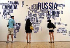 1888 '' W grande testo mappa Decalcomanie da muro di WorldMaps