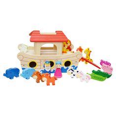 Noé bárkája- fa játékhajó 17 figurával   Pandatanoda.hu Játék webáruház