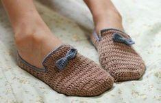 Labores de ganchillo: Diseños de zapatillas - Zapatillas de ganchillo con lazo