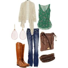 The Boots, cardigan & tank are adorable together!