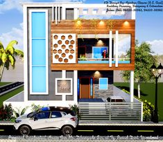 House Outer Design, Duplex House Design, House Front Design, Modern House Design, Living Room Partition Design, Room Partition Designs, Front Elevation Designs, House Elevation, Modern Architecture House