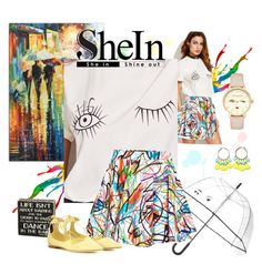 """""""SheIn White Wink Eyes T-Shirt Contest"""" by love-n-laughter ❤ liked on Polyvore featuring Kate Spade, Rainbow, Jeremy Scott, Jimmy Choo and Sugar"""