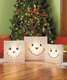 Set of 3 Lighted Snowman Boxes