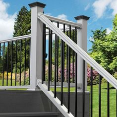 The Traditional 6 ft. x 36 in. White Stair Rail Kit with Black Metal Balusters featuring PolyComposite technology offers the high quality, low maintenance solution you've been looking for. Our new PolyComposite Porch Vinyl Railing, Metal Deck Railing, Metal Balusters, Outdoor Stair Railing, Front Porch Railings, Porch Stairs, Patio Deck Designs, Building A Porch, House With Porch