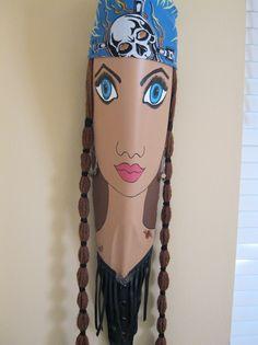 """Biker Chick"" Palm Frond Palm Frond Art, Palm Fronds, Wood Bark, Bazaar Ideas, My Art Studio, Tree Bark, Nature Crafts, Cute Crafts, Female Art"