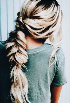 #hair pretty hair, long hair, blonde hair, braided hair, casual hair style, hair style ideas