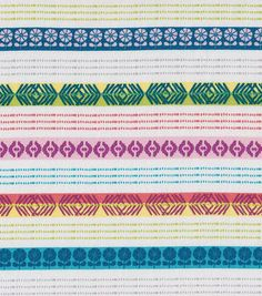 Doodles Collection Fabric - Twill Ethnic Stripe Yellow