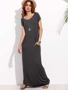 7209bde0315 SheIn offers Dark Grey Pocket Short Sleeve Maxi Dress   more to fit your  fashionable needs.