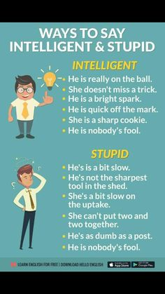 ways to say 'Intelligent' and 'stupid' in English. D'autres manières de dire intelligent et stupide en anglais. English Writing Skills, Learn English Grammar, English Vocabulary Words, Learn English Words, English Phrases, English Language Learning, English Study, English Lessons, Teaching English