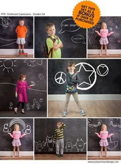 "The cutest Photoshop Add-on EVER! ""Chalkboard Expressions: School Days Starter Set"" with Bonus Doodles! - Photo Dough - P"