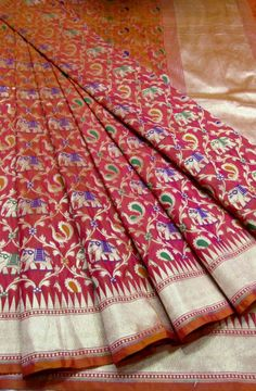Shop online for Pink Handloom Banarasi Georgette Silk Saree