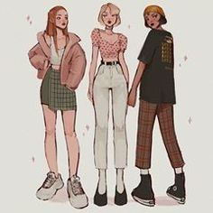 This took me 70 years to finish my braincells are now down to 🤠 press 1 to pay respect Thank you for sending me the characters 💗💖💕 . Fashion Design Drawings, Fashion Sketches, Art Sketches, Bff Drawings, Clothing Sketches, Cute Art Styles, Chica Anime Manga, Drawing Clothes, Character Design Inspiration