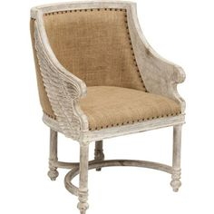 Angel chair, upholstered in burlap, trimmed with nail heads. $639