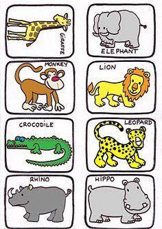 Animales con sus nombres en inglés.