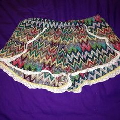 Shorts ✨multi colored shoes with lace outline! Worn twice -- perfect condition! Elastic waste band, size medium!✨ Shorts