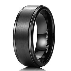 King Will 8mm Black High Polish Matte Finish Tungsten Men's Wedding Ring Comfort Fit 15