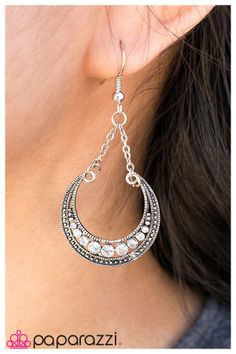 A silver crescent is filled with sparkling rhinestones in this elegant bestseller.  www.vegasblingfor5.com