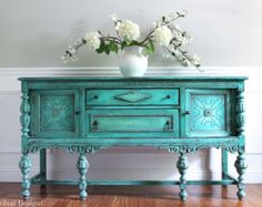 Antique Ornate Jacobean Hand Painted French Country Cottage Chic Victorian Distressed Turquoise / Aquamarine Buffet Sideboard